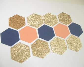 NEW - Confetti Celebration - Coral/Navy/Champagne- Hexagon/Honeycomb shape- for Parties/Showers/Weddings/Wall Art/DIY Garland/ Nursery Decor