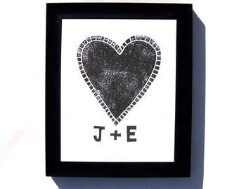 CUSTOM INITIALS print - Custom initials valentine heart BLACK linocut print 8x10