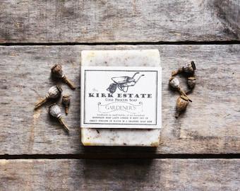Gardener Soap // large bar // lemongrass spearmint vetiver // cold process soap // organic ingredients // lightly scented // exfoliating