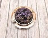 Folding Purse Hanger - Handbag Hook - Purple, Gold and Black Faux Lava Stone