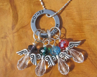 MOTHER with ANGELS Birthstone Charm Necklace - Choose any Swarovski Crystal - Great Mothers Day Gift