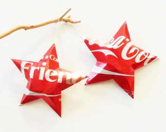 Friend Coke Stars Christmas Ornaments  Soda Can Upcycled Coca Cola