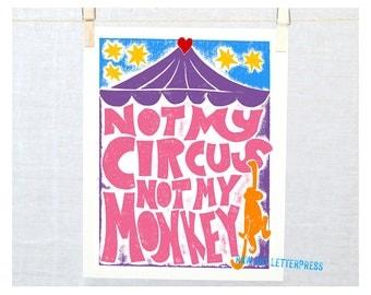 Not My Circus Not My Monkey, Wall Art, Typographic Print, Nie mój cyrk, nie moje małpy, Funny Gift, 12 Step Gift, Recovery, Gift Ideas