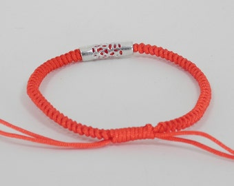 Lucky Red String with Sterling Silver Bracelet