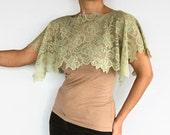 Lace Shoulder Wrap, Moss Green Capelet, Crop Lace Capelet, Handmade.