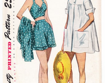Vintage 1950 Simplicity 3191 Sewing Pattern Misses' Maternity Shorts, Halter and Beach Coat Size 14 Bust 34