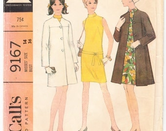 Vintage 1968 McCall's 9167 UNCUT Sewing Pattern Misses' Ensemble, Dress and Coat Size 14 Bust 36