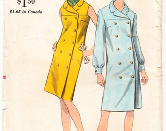 Vintage 1967 Vogue 7016 Sewing Pattern Misses One-Piece Dress Size 12 Bust 32