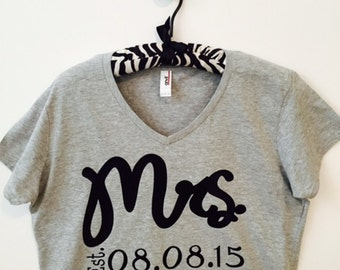Mrs.  Custom V-Neck T-Shirt with wedding date