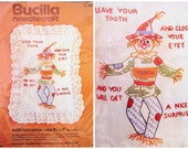 RESERVED FOR J Original Vintage Tooth Fairy Pillow Scarecrow Bucilla Needlecraft Embroidery Kit-nip New in Package