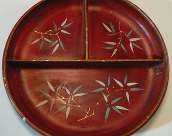 Vintage Maruni Divided Dish Bowl Hand Painted Laquerware