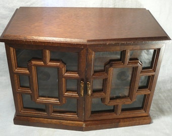 Vintage Mele Asian Jewelry Box Tall Glass Doors