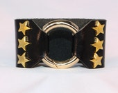 Gold Star Studded Ring Clasp Cuff on Black Metallic Leather support your favorite team by Rockin its Colors