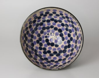 Stoneware Ceramic Bowl with a Blue Spiral Dot Pattern