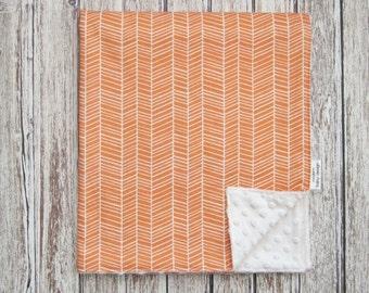 Orange Herringbone Baby Blanket, Minky Baby Blanket, Orange Baby Blanket, Orange Nursery
