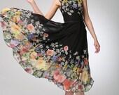 Black chiffon dress prom dress women flower dress (1250)