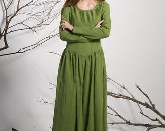 Green linen dress maxi dress long dress women dress (1136)