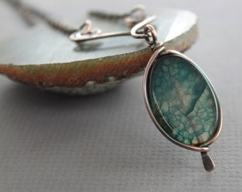 Framed blue with gray agate copper necklace on arch - Copper necklace - Stone necklace