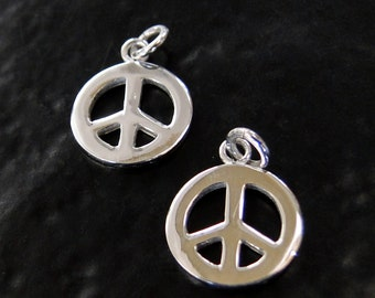 2 Pcs. - Sterling Silver Peace Sign Charms 10mm