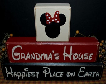 Grandma's House Minnie Mouse Happiest Place on Earth custom personalized primitive wood family blocks sign