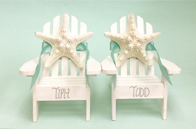 Beach Wedding Cake Topper 2 Mini Adirondack Chairs with