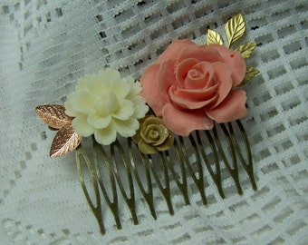 Coral Rose Hair Comb -  Coral Peach  Rose, Ivory Flower, Latte Rose, Gold Leaves, Flower Collage Bridesmaids Gift, Peach , Garden Wedding