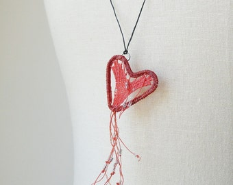 Heart Teneriffe  Necklace,  Woven Waxed Linen Sparkly, Orange Coral Peach Burgundy TN1