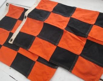 Vintage Cloth Nautical Flags Orange Black set of 2