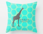 Personalized Throw Pillow, Baby Boy Baby Nursery Decor, Baby's First Pillow, Giraffe Nursery Pillow, Baby Shower Gift, Boy's Room Decor