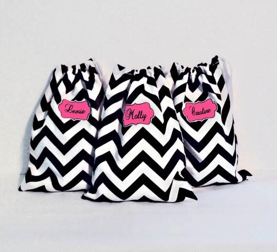 Travel Shoe Bags, Perfect Bridesmaid Gifts, Beach Wedding Sandal Bags, Drawstring Bag for Sandals, Ballet Shoe Bags, Lingerie Bags, Chevron