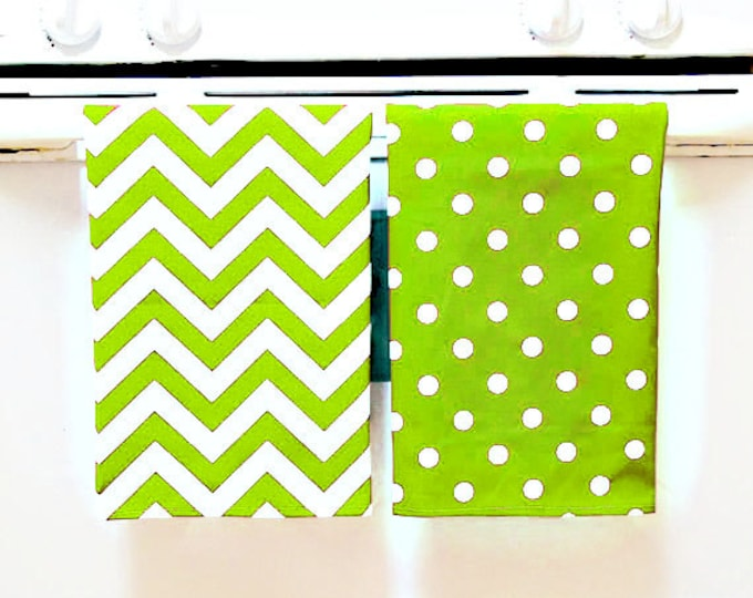 Tea Towels 2 pack, kitchen dish towels, chevron and polka dot patterns, HOSTESS GIFT, TEACHERS gifts, 45 patterns to choose from