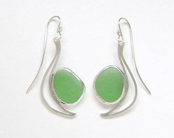 Sea Glass Jewelry - Sterling Green Sea Glass Earrings