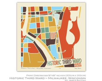 Historic Third Ward - Milwaukee, Wisconsin Neighborhood Art Map Print by James Steeno