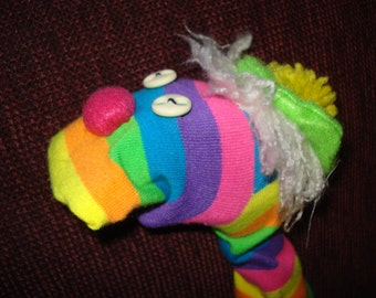 Wild Striped Colorful Sock Puppet moveable mouth