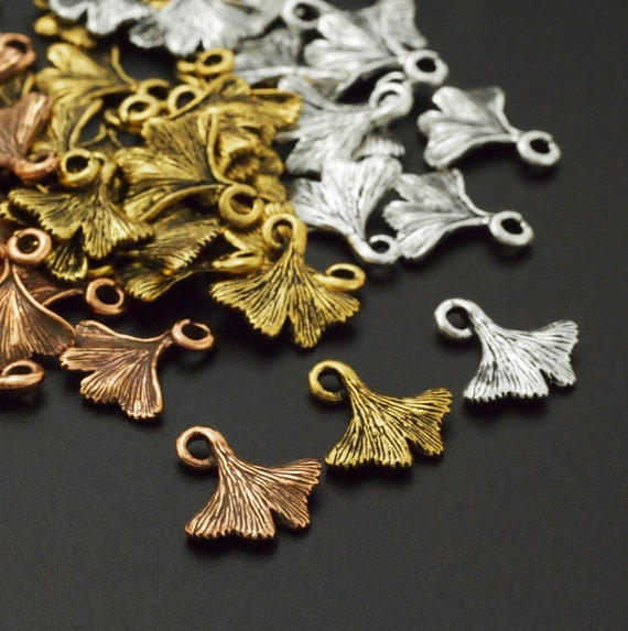 Clearance SALE 3 Ginkgo Leaf Charms - Authentic Tierra Cast - 13mm - You Choose Finish - Handmade Jump Rings Included - 100% Guarantee