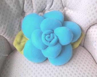 Scuba blue Rose throw pillow