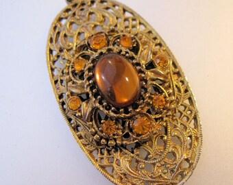 Edwardian Revival Amber Rhinestone Cabochon Filigree Pendant Vintage Costume Jewelry Jewellery