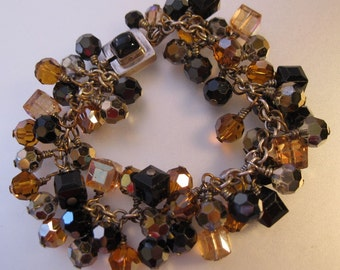 Vintage Sterling Faceted Multi Crystal Charm Bracelet with inlaid onyx clasp Black & Amber Jewelery Jewellery