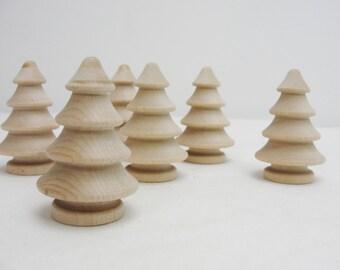 "Wooden 3 dimensional tree, 2"" tree,  turned wooden tree, DIY medium tree, set of 6"