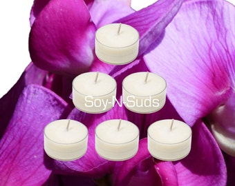 Soy Tea Lights, Soy Candles, TUBEROSE, Dye Free, T Lites, TUBEROSE Candles, 6 Pack, White Candles, Scented, Spring Candles, soyNsuds