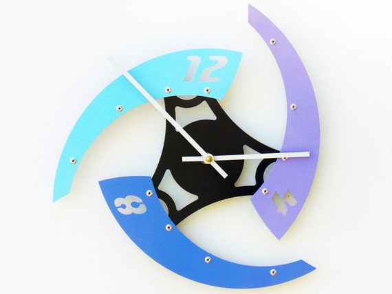 Sweep IV, Medium Wall Clock, Painted Aqua French Lilac and Wildflower Blue, Modern Wall Clock, Industrial Wall Clock, Unique Wall Clock