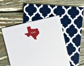 Personalized Note Cards - Set of 8 - State Note - Texas
