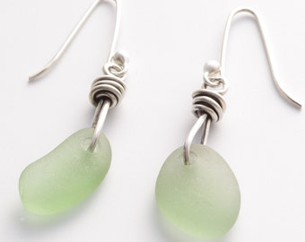 Silver and Celery Green Sea Glass Earrings