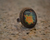 Funky Flower Button Ring