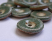 Dark green small ceramic buttons