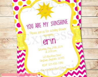 You Are My Sunshine Girl Baby Shower Invitation