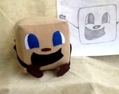 "Limited Quantity,Tiny Box Tim Plushie! Corduroy Plush Toy. 5.5"" cube, Pillow. Markiplier Youtuber."