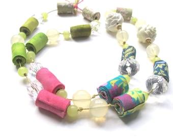 Pink lime spring fiber necklace, trendy spring fiber necklace, spring fabric necklace