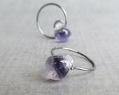 Small Purple Earrings, Purple Hoop Earrings, Oxidized Hoops, Glass Drop Earrings, Oxidized Earrings, Sterling Silver Wire Earrings
