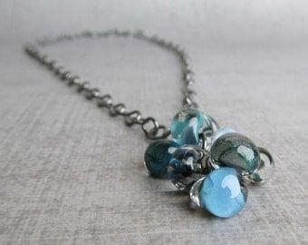 Blue Glass Drop Necklace, Teal Blue Lampwork Necklace, Hand Forged Necklace, Aqua Blue Necklace, Oxidized Sterling Necklace
